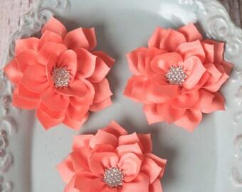 Coral lotus flowers, flower supplies, poinsettia flowers, kanzashi flowers, lotus flower, large flowers, winter flowers, headband supplies