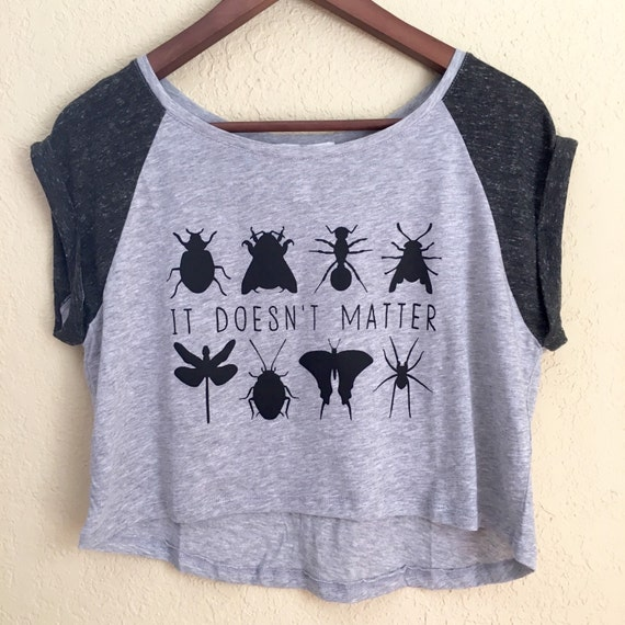 Medium Phish Bug Lyrics Farmhouse Grey and Black Semi Crop Top
