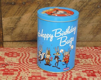 Vintage Bugs Bunny Metal Tin, Happy Birthday Bugs, Brachs Candy Tin, Warner Bros Characters, Collectible Tin, Decorative Candy Canister