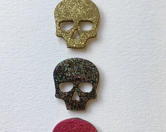 Glitter Skull Magnets