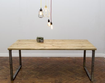 Rikr Handmade Industrial Chic Reclaimed Wood with Steel Legs Table. Cafe Bar Restaurant. Custom Made to Order.