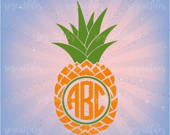 SVG Pineapple Circle Monogram - Pineapple Svg Monogram Frame Cut Files  - Cricut, Silhouette Studio cutting file, Instant Download