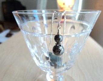 Pendant hematite. Vintage jewelry. Pendant vintage with hematite and silver.