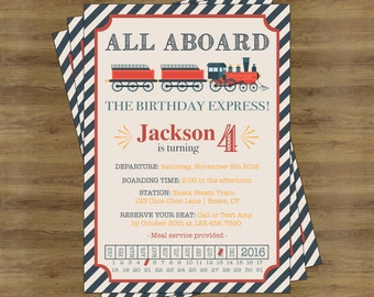 Train Birthday Invitation; Train Invitation; Train Ticket Invitation; Train Ticket Birthday Invitation; Vintage Train Invitation Train Party