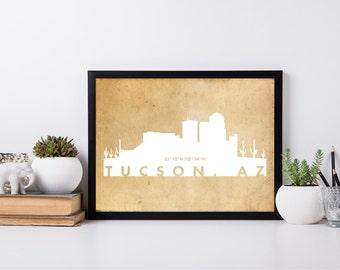 Tucson City Art, coordinate art, house warming, newly weds, tourist, travel, traveler, gift, home decor, print, poster