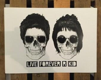 Live Forever 'R' Kid (Noel & Liam Gallagher skulls) A3 print on 300gsm art card