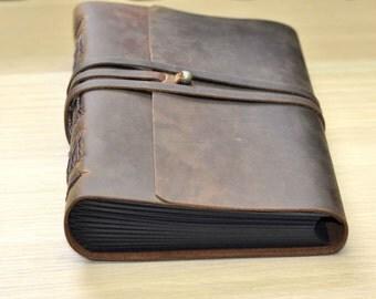 Dark brown leather Wedding Album,Wedding Guest Book,Leather Album,leather Journal, Wedding Gift   Anniversary gift