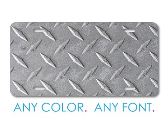 custom license plate monogram aluminum full color vanity front plate grey diamond