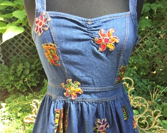 Upcycled Altered Denim Romper Dress, Womens Size Medium, Boho Gypsy Tribal Festival Dance Wear