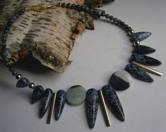 Snowflake Obsidian necklace with agate