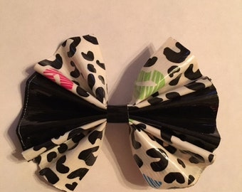 Black and Leopard Lips Duct Tape Hair Bow