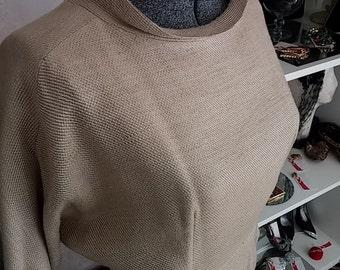 Vintage, 1960's, Silk Weave, Beige, Ivory, 3/4 Length Dolman Sleeve, Dress