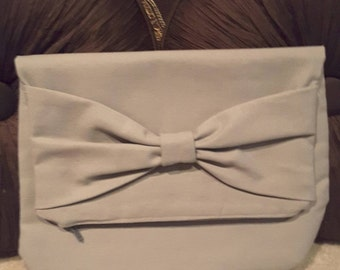 Custom Canvas Foldover Clutch With Matching Bow and FREE SHIPPING