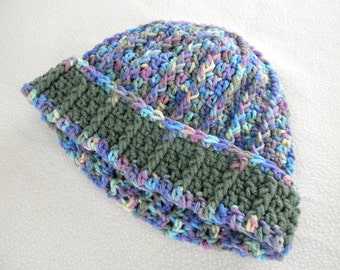 Crocheted Monet Hat with Green Band