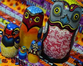 Birds Matryoshka Babushka Russian nesting dolls, Birds Sparrows and Pigeons, handmade