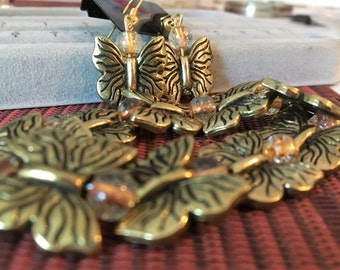 Bronze Butterfly jewlery set