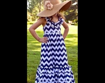 Navy white chevron summer girl toddler maxi ruffle dress sleeveless