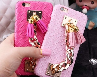 Chain Tassels Cell Phone Cases for iphone 6 6s for iphone 6 6s  plus, Pink Black Rose Red cell phone Case