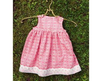 Baby Girl Summer Dress, Girls Cotton Dress, Little Girl Summer Dress, Posh Girl Dress, Vintage Style Baby Girls Dress, Golden Buttons Dress