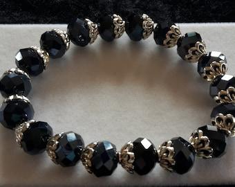 Black and Silver Glass Bead Bracelet