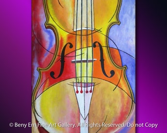 Impressionistic Painting: Acrylic Painting. Abstract Painting, Still Life Modern Painting, Ready to hang, Music Instrument (Violin Painting)
