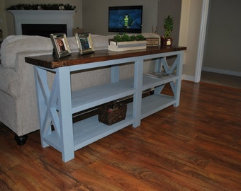 Rustic Console Table - Farmhouse Style, rustic x wood console