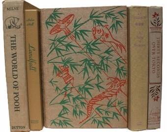 Tan Decorative Books, Antique Books, Vintage Book Collection, Wedding Centerpiece, Book Decor, Interior Design, Beige