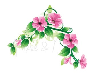 Morning Glory Vine- Temporary Tattoo - choose your size - Floral - modern