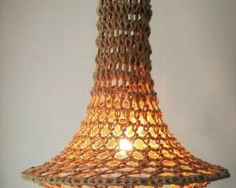 Unique handmade design pendant lamp – crocheted Jute chandelier – 80x60cm – Ibiza style  design