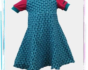 Hoody dress 110 blue pink butterfly