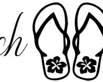 Beach Life with flip flops decal