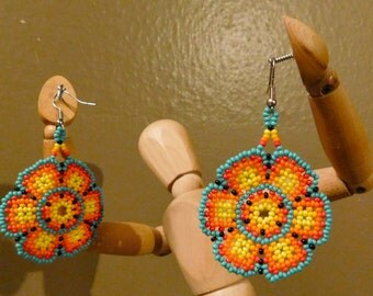 Beautiful and Intricate Huichol Mexican Psychedelic Peyote Earrings