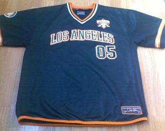FUBU jersey, black Fubu City Series shirt, vintage Los Angeles t-shirt of 90s hip-hop clothing, 1990s gangsta rap, OG, size S Small