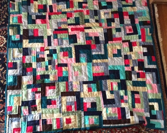 Bojagi style hand quilted throw sized quilt