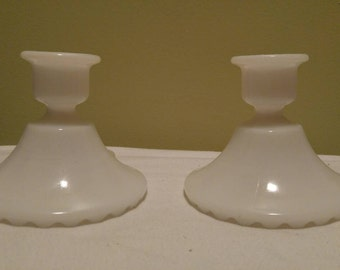 Vintage Pair of Two Plain White Milk Glass Candle Stick Holders