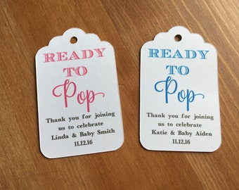 Ready to Pop Baby Shower Favor Tags, Popcorn Favor Tags, Champagne Favor Tags,About to Pop Favor tags