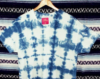 Endless Summer Sale!  Shibori indigo dye v-neck t-shirt