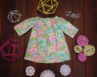 Girls Long Sleeved Dress- 00-Pink Green Hearts