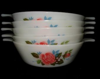 5 x  pyrex bowls cottage rose