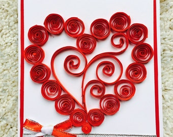 Red Heart Greeting Card; Red Heart Card; Paper Quilled Card; Paper Quilling; Charity; Proceeds to Charity; Cambodia; Blank Card; I Love You