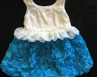 Lace and Rosette Turquoise Dress