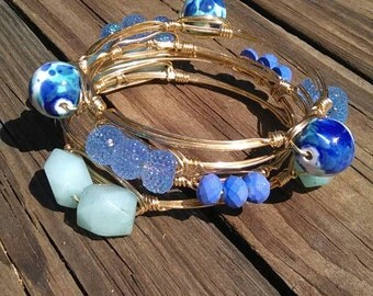 Blue Blur Wire Wrapped Bangles