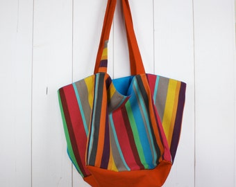 Cotton canvas tote bag striped multicolor flashy