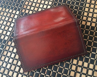 Distressed Mahogany Leather Checkbook Cover