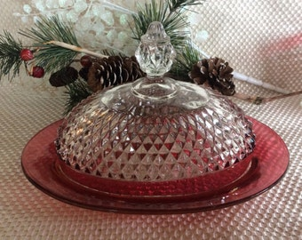 Vintage Tiara Diamond Point butter dish Ruby stain band by Indiana glass