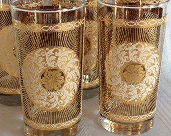 Vintage 5 Retro Libbey tumblers gold applied design with show frost wheel flower sunburst