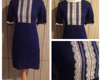 Vintage 1960's metal zipper navy and off white dress - s/m