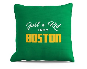 Just A Kid From Boston Pillow, Boston Throw Pillow, Cool Boston Pillow, Boston, Yellow Pillow, Sofa Pillow, Couch Throw, 18x18 Pillow,
