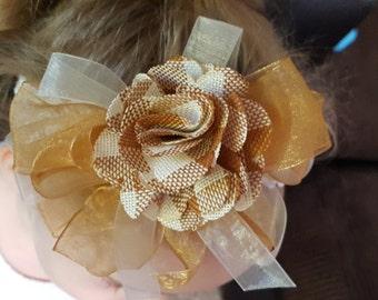 Embellished Ivory, Gold, & Brown Headband