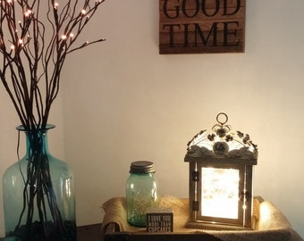 Distressed Flower Top Lantern with Starry String Lights